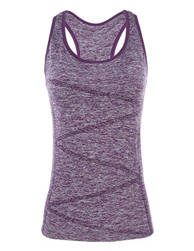 Disbest - Top sportivo da donna senza maniche, tessuto elastico, ideale per yoga, corsa, ginnastica, allenamento - Con supporto reggiseno, New, Purple, S