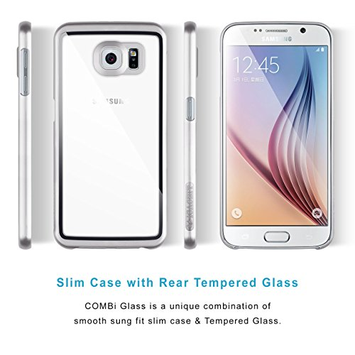 Coque Samsung Galaxy S6 Case | iCASEIT COMBi Glass Case | Slim case with Strengthened Glass back | Only 0.8mm in Thickness | Exact-Fit with Premium Finish | BABY PINK SILVER