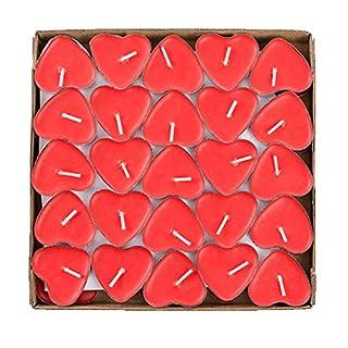 Ailiebhaus 50er herzförmige Kerzen, rauchfreie Teelichter, für Geburtstag, Vorschlag,Hochzeit,Party, Rot, Hochzeit Verlobung, Valentinstag(Rot)