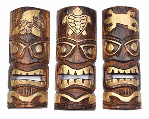 3-piezas-Tiki-Mscara-de-pared-30cm-con-Gecko-flores-Tortuga-Motivo
