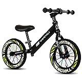 Bicicleta sin pedales Bici Bicicleta neumática de 12 Pulgadas para neumáticos - Negro/Azul/Verde/Rosa Regalo de cumpleaños, para 2/3/4/5 / 6/7 8 años Old Boy Girl