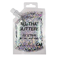 Hair Body Glitter Bag Pouch Holographic Cosmetic Grade Glamour, Silver