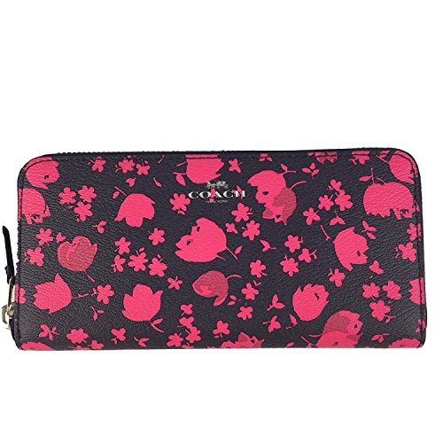 Coach SLIM ACCORDION ZIP IN PRAIRIE CALICO FLORAL PRINT CANVAS F56733 SILVER/MIDNIGHT PINK RUBY (Floral Pink Calico)