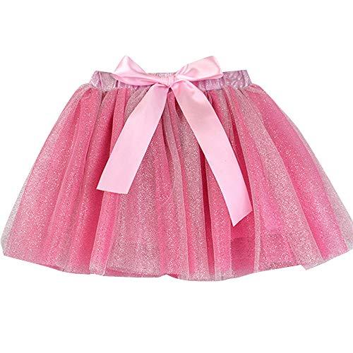 Kinder Mädchen Tutu Rock, Petticoat Paillette Sterne Tüll Pettiskirt Bowknot Pettiskirt Polka Dot Flash Kurzer Princess Wild Group Kostüme Dancewear(2T-5T) Ostern (Hot Pink,S) (Hexe 2t Kostüm)