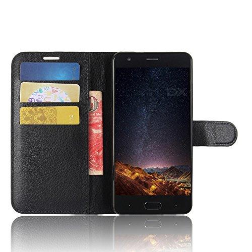 SMTR Doogee X20 / Doogee X20L Wallet Tasche Hülle - Ledertasche im Bookstyle in Schwarz - [Ultra Slim][Card Slot][Handyhülle] Flip Wallet Case Etui für Doogee X20 / Doogee X20L