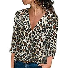 DEELIN LiquidacióN Blusa Moda Mujer Sexy Camisa De Manga Larga con Cuello En V Estampado Leopardo