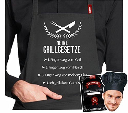 #GRILL: Original HARIZ® Collection Grillschürze Premium // 24 Designs wählbar // Schwarz // Schürze mit Urkunde & Kochmütze // Geschenk #GRILL01: Meine (Original Outfits Für Männer)