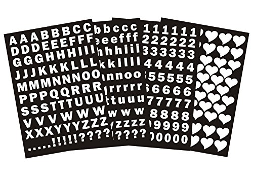 das-label Buchstaben groß und klein - Zahlen und Herzen als Minikollektion Design No.3 ca. 1 cm Höhe | weiss Vinyl glanz| selbstklebende gestanzte Ziffern und Herzen | zum Basteln Scrapbook | Sticker | Aufkleber | zum Beschriften