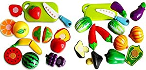 SRIHPE Realistic Sliceable Fruit and Vegetables Cutting Play Toy Set with Velcro - Combo