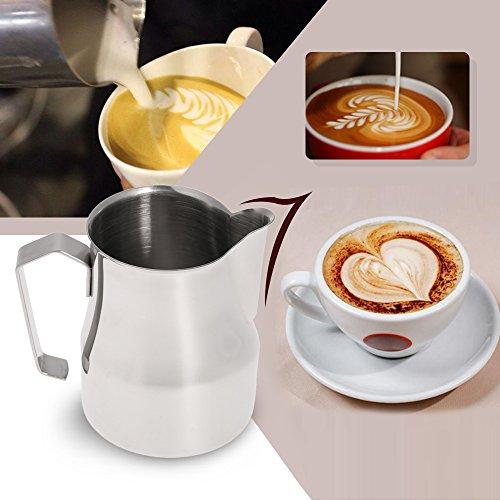 asentechuk® Edelstahl Profi Milch aufschäumen Krug Kaffee Cappuccino Latte Krug Messbecher 350ml silber - 4
