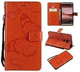 BoxTii Huawei Mate 8 Lederhülle, Kratzfeste Schutzhülle [mit Frei Panzerglas Displayschutzfolie] Karte Halter Hülle Etui für Huawei Mate 8 (#7 Orange)