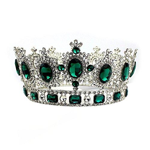 Pixnor Elegant Kristall versilbert Krone Braut Hochzeit Diadem Tiara (grün) - Kronen Elegante