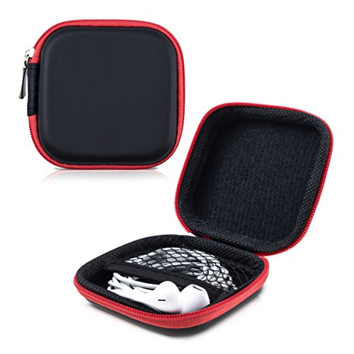 kwmobile In-Ear Kopfhörer Tasche - In Ear Headphones Schutztasche - Earphones Etui Case Cover Hülle für Kopfhörer in Rot - 3