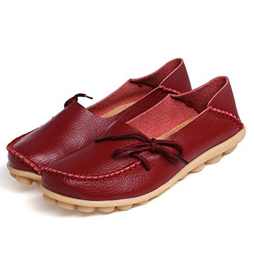 Oriskey Mocassins Femme Cuir Loafers Casual Bateau Chaussures de Ville Flats Vin rouge