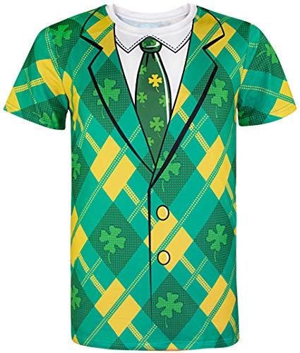 Cosavorock ST. Patrick's Day Leprechaun Kostüm Klee T-Shirts Herren (L, Clover)