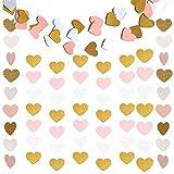 2 Packungen Papier Herz Girlande Girlanden für Hochzeit Vorhang Party Kinderzimmer ,Herz Hängende Banner Bunting Garland Girlande für Mädchen Jahrestag Valentinstag Dekoration(Glitter Gold Weiß Rosa)