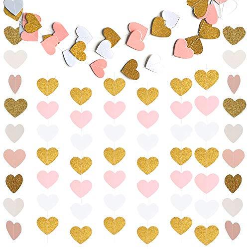 erz Girlande Girlanden für Hochzeit Vorhang Party Kinderzimmer ,Herz Hängende Banner Bunting Garland Girlande für Mädchen Jahrestag Valentinstag Dekoration(Glitter Gold Weiß Rosa) ()