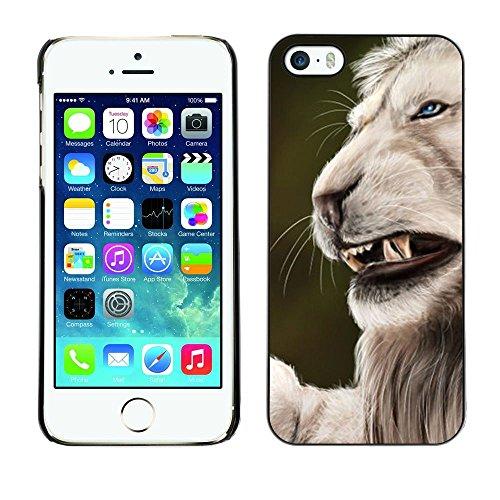 GooooStore/Housse Etui Cas Coque - Roar Angry Big Cat Lion Nature White - Apple iPhone 5 / 5S