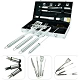 Maletín de 18 utensilios para barbacoa – Utensilios de acero inoxidable para parrillada con maleta de aluminio