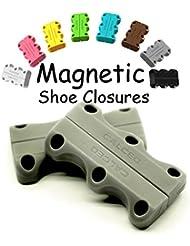 Magnetic cierres de zapatos con anclajes 1pares de zapatos y 1par cordones para zapatos, ayuda usted a su desgaste Zapatillas Sin vinculación y nudos, 1par, gris, large