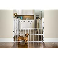 Carlson Adjustable 66-106cm Gate, with Small Pet Door White