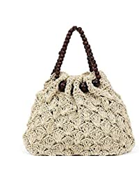 KFOXY White Craft Women's Luxury Designer Bohemian Straw Handbag with Modern Ethnic Looks (White)