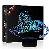 Tigre Regalo di compleanno 3D Illusion Night Light Accanto Lampada da tavolo, Gawell 7 Cambia colore Touch Switch Decorazione Lampade Baby Gift con acrilico Flat & Base ABS e cavo USB Theme Toy