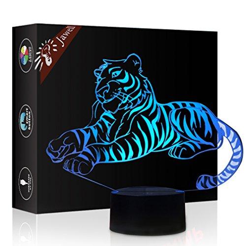 Tiger Geschenk Nachtlicht 3D neben Tischlampe Illusion, Jawell 7 Farben ändern Touch Switch Schreibtisch Dekoration Lampen Geburtstag Weihnachtsgeschenk mit Acryl Flat & ABS Base & USB Kabel (Sie Schalter Ändern Licht Wand)