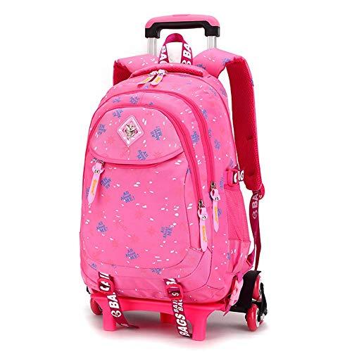 LUCKGXY Mädchen niedlichen Rucksack, High Capacity Dual-Use Trolley Schultasche abnehmbar 6 Räder Reiserucksack 12.2x18.8x7.4 Zoll (31x48x19 cm),pink
