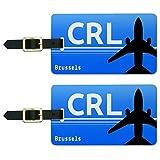Brüssel Belguim–Charleroi-Maßen (CRL) Flughafen Code Gepäck ID Tags Set von 2