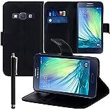 VCOMP® Samsung Galaxy A3 SM-A300F/ A3 Duos (non compatible Galaxy A3 (2016)): Etui portefeuille cuir PU Livre rabat support vidéo + stylet - NOIR
