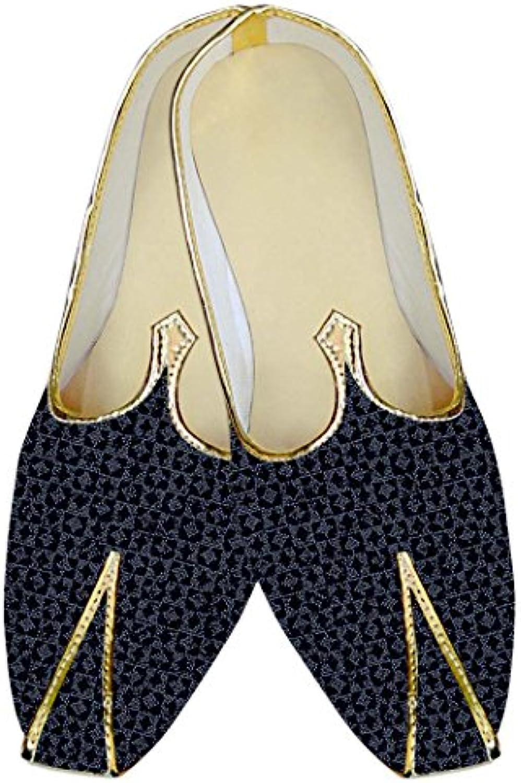 INMONARCH Negro y Azul Hombres Boda Zapatos Ropa de Fiesta MJ14094