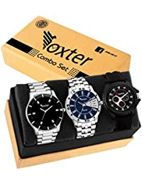 Foxter Pack of 3 Multicolour Analog Day & Date Watch for Men and Boys