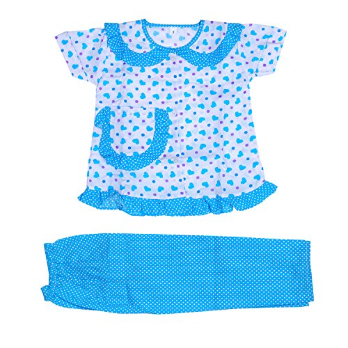 Light Gear Girls Knitted Cotton Sleepwear / Home wear (2 - 10 yrs) (3-4 years, Sky Blue)