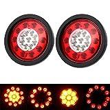 Rücklicht Anhänger, HEHEMM 19 runde LED-Bremsstopp-Rücklicht er, gelb und rot, für LKW-Anhänger und Transporter, mit schwarzen Gummiringen, Rücklicht 12-30 V (2er-Packung)