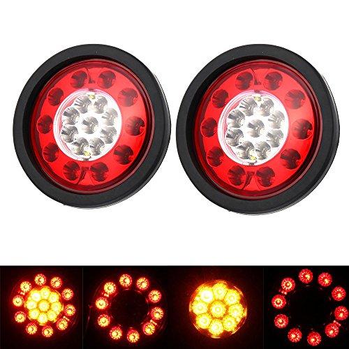 Hehemm, fanali rotondi con 19LED e anello di gomma nero, luci gialle e rosse per frecce e freni, fanali per camion, rimorchio, lampada 12–24V, confezione da 2