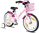 PROMETHEUS 16 inch girls bike in colour pink purple kids bike with stabilisers | Caliper brake and backpedalling brake | From age 4 - 5 years | 16