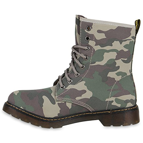Damen Worker Boots Lack Stiefeletten Grunge Profil Sohle Punk Grün ... a708f9e160