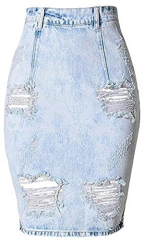 EKU Women Slim Sexy Bodycon Wash Hole Split-ends Midi Jean Skirt xxl blue