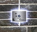 Beleuchtete Edelstahl Türklingel mit Gravur und freier Motivauswahl Klingelschild Klingelplatte graviert Weber-L