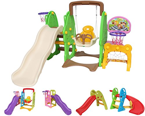 Clarmaro \'Kids Adventure 3in1\' Kinder Spielplatz Rutsche mit 140 cm Wellenrutsche, Schaukel und Basketballkorb, Indoor/Outdoor Garten Rutschbahn, Spielturm und Rutsche mit Breiten Stufen Standbeinen