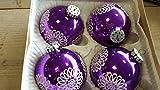 Christbaumkugeln Weihnachtsbaum Kugeln Glas Nostalgie 30-40 Jahre alt lila violett 8 cm