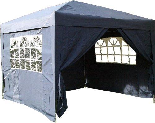 Airwave Pop-Up-Pavillon, 3 x 3 m, blau, wasserfester GartenPavillon, 2 Windstangen und 4 Gewichte für die Beine