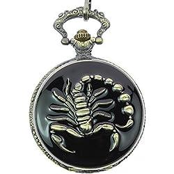 itemstoday Skorpion Gravur Fall Bronze Fashion Japanische Quarz Herren Taschenuhr für Geschenk