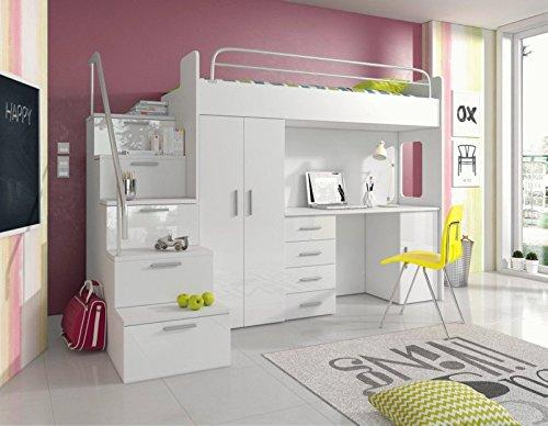 Furnistad - Hochbett SKY - Kinderzimmer Komplett (Option links, Weiß)