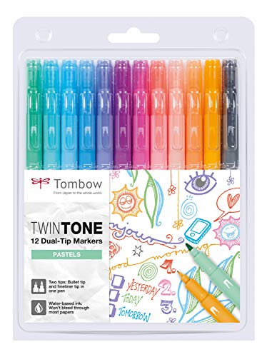 Tombow WS-PK-12P-2 Twintone Marker Set 12-Pack, Dual-tip, pastel -