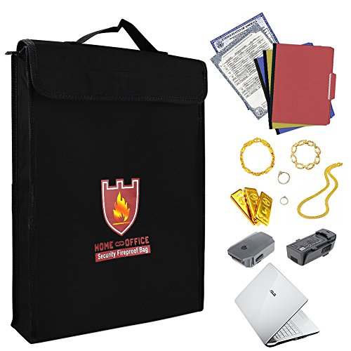Feuerfeste Tasche Ideal für Tresor Sicherheitstasche Brandschutztasche,Reißverschluss, Silikonbeschichtet Feuerbeständig Umschlag Tasche (38 * 30,5 * 6,5 cm) (Laptop-safe)