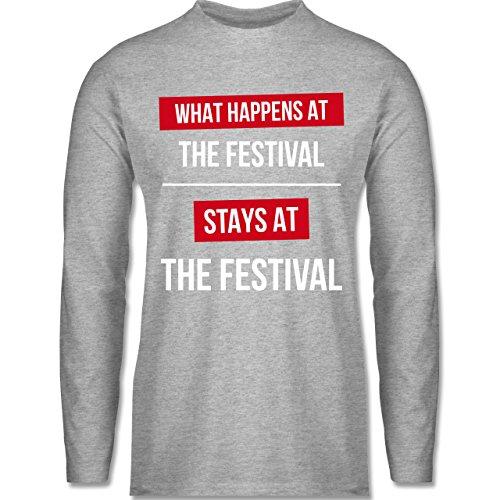 Shirtracer Festival - What Happens On The Festival Stays At The Festival - Herren Langarmshirt Grau Meliert