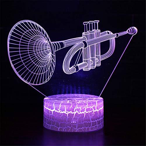 Leuchten Für Kinder, Tisch Und Nachttischlampen,Musikinstrument Trompete Thema 3D Lampe Led Nachtlicht 7 Farbwechsel Touch Stimmung Lampe Weihnachtsgeschenk