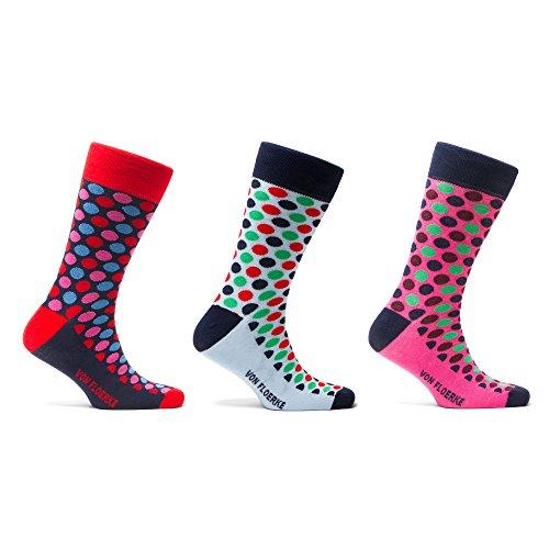 VON FLOERKE Drei Paar Set Handgekettelte gepunktete Socken Business Strümpfe – Pink - Dunkelblau - Hellblau – aus 100% ägyptischer Baumwolle